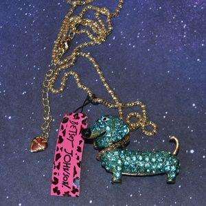 NWT Betsey Johnson Blue Dachshund Necklace